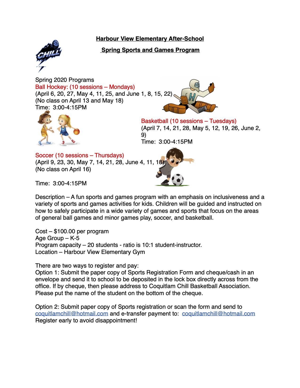 Afterschool Program Flyer and Form Spring Session 2